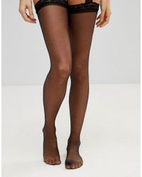 Leg Avenue - Sheer Thigh High Tights With Lace Garterbelt - Lyst
