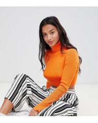 Missguided - High Neck Ribbed Crop Jumper - Lyst