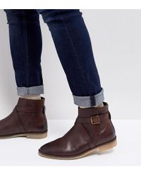 ASOS - Wide Fit Chelsea Boots In Brown Leather With Strap Detail And Natural Sole - Lyst