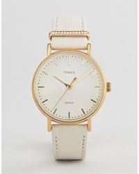Timex - Tw2r70500 Fairfield Leather Watch In White - Lyst