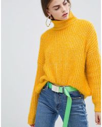 Bershka - Eyelash Texture Roll Neck Jumper - Lyst