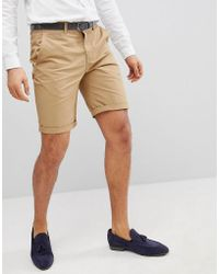 Solid - Slim Fit Chino Short In Stone - Lyst