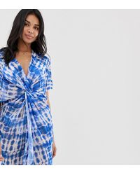 f8e94a2fc4 New Look - Tie Dye Twist Front Beach Cover Up In Blue - Lyst