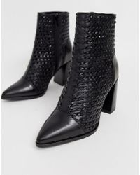 8e69ba16ca14 River Island - Leather Woven Boots With Pointed Toe In Black - Lyst