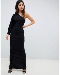95779b1a30 ASOS - One Sleeve Metallic Plisse Maxi Dress - Lyst