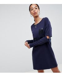 Noisy May Tall - Long Sweater Dress With Buckle Sleeves - Lyst