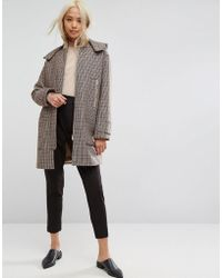 ASOS - Hooded Check Coat With Rib Funnel Neck - Lyst