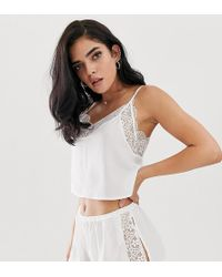 Wolf & Whistle - Lace Trim Cami Short Pyjama Set In White - Lyst