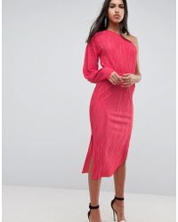 ASOS - Asos One Shoulder Midi Dress With Balloon Sleeve In Plisse - Lyst