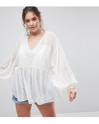ASOS - Asos Design Curve Longline Blouse In Dobby Lace Mix - Lyst