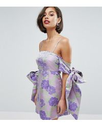 ASOS - Salon Jacquard Bow Tie Cold Shoulder Empire Mini Dress - Lyst