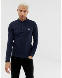 84cc609e BOSS by Hugo Boss Men's Passerby Slim-fit Long Sleeve Polo Top Dark Blue in  Blue for Men - Save 30% - Lyst