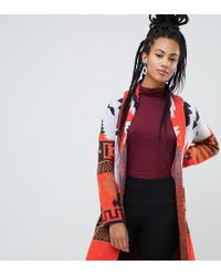 Esprit - Aztec Print Cardigan In Red - Lyst