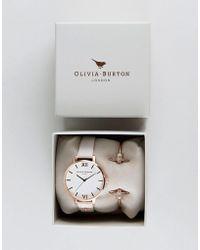 Olivia Burton - Bee Mine Leather Watch & Bangle Bracelet Ob16gset04 - Lyst
