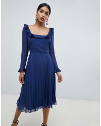 ASOS - Pleated Ruffle Square Neck Midi Dress With Long Sleeves - Lyst