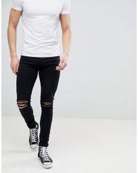 Dr. Denim - Leroy Black Ripped Knees Skinny Jeans - Lyst