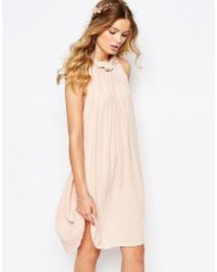 Darccy - Gathered Ruffle Neck Swing Dress - Lyst