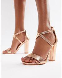Glamorous - Metallic Cross Strap Block Heel Sandals In Rose Gold - Lyst