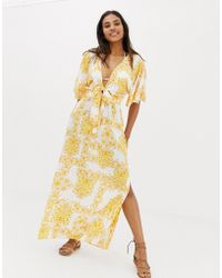 7d42c243a55 AX Paris Sunflower Print Off Shoulder Maxi Dress in Blue - Lyst