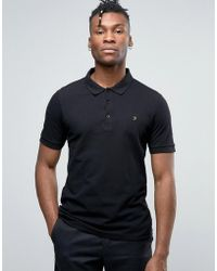 Farah | Blaney Pique Polo Slim Fit In Black | Lyst
