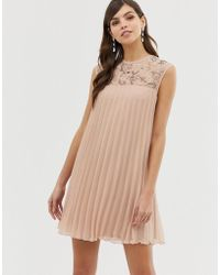 ASOS - Sleeveless Trapeze Pleated Mini Swing Dress With Embellished Yoke - Lyst