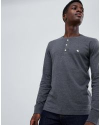 355bf50c Abercrombie & Fitch - Icon Logo Long Sleeve Henley Top In Dark Gray Marl -  Lyst