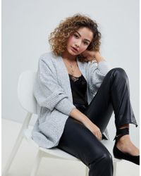 Miss Selfridge - Longline Cardigan In Grey - Lyst