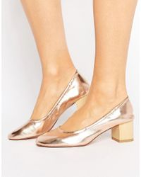 Pull&Bear - Metallic Block Heel Pump - Lyst