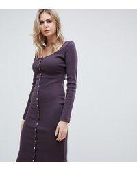 Missguided - Popper Detail Ribbed Midi Dress In Aubergine - Lyst d6985b0ed