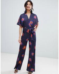 True Violet - Floral Flutter Sleeve Jumpsuit - Lyst