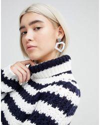 ASOS | Brushed Metal Geo Shape Drop Earrings | Lyst