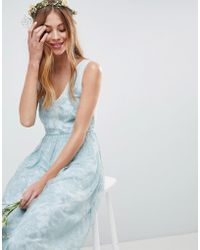 ASOS - Design Design Bridesmaid Delicate Lace Sheer Insert Maxi Dress - Lyst