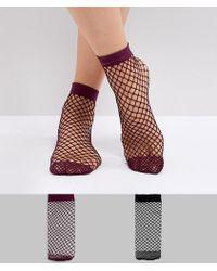 ASOS - 2 Pack Oversized Fishnet Socks In Black And Berry - Lyst