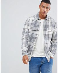 Solid - Check Overshirt In Grey - Lyst