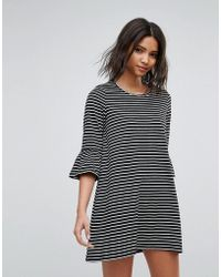 Vero Moda - Stripe Shift Dress With Fluted Sleeve - Lyst