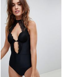 Lipsy - Lace Cutout Swimsuit - Lyst