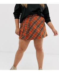 ASOS - Asos Design Curve Check Mini Wrap Skirt With Pockets - Lyst