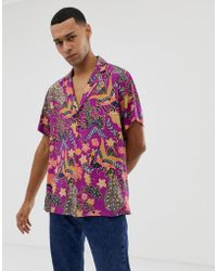 ASOS - Regular Fit Paisley Shirt With Deep Revere Collar In Purple - Lyst