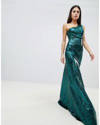 Goddiva - One Shoulder Sequin Maxi Dress In Emerald Green - Lyst