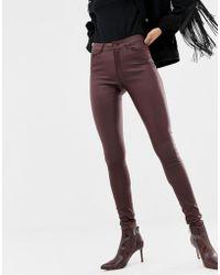 Vero Moda - Coated Skinny Jeans In Burgundy - Lyst