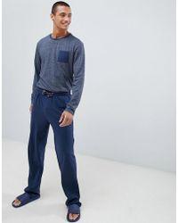 Tokyo Laundry - Cotton Fleck Long Sleeve Pyjamas In Navy - Lyst