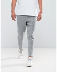ASOS - Asos Tapered Smart Trouser In Light Grey Texture With Elasticated Back - Lyst