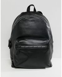 HUGO - National Leather Backpack With Logo Zip Detail In Black - Lyst