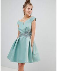 Little Mistress - Bardot Prom Dress With Metallic Embroidered Waist - Lyst