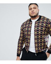 ASOS - Plus Knitted Bomber Jacket With Geometric Design - Lyst