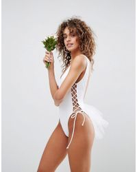 ASOS - Bridal Lace Up Side Tulle Swimsuit - Lyst