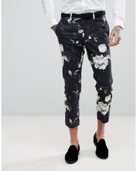 ASOS - Skinny Crop Suit Trousers In Black Photographic Print - Lyst