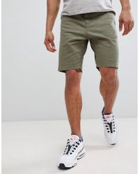 Stradivarius - Denim Shorts In Olive - Lyst