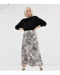 New Look - Satin Bias Cut Midi Skirt In Snake Print - Lyst