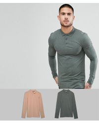 ASOS - Muscle Fit Jersey Long Sleeve Polo 2 Pack Save - Lyst